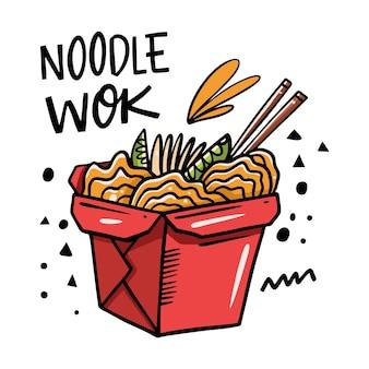 Ilustração dos desenhos animados de macarrão asiático em caixa vermelha