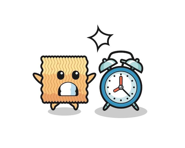 Ilustração dos desenhos animados de macarrão instantâneo cru é surpreendida com um despertador gigante, design de estilo fofo para camiseta, adesivo, elemento de logotipo