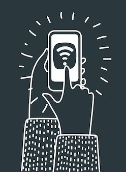Ilustração dos desenhos animados de mãos humanas segurando um smartphone e tocando com o dedo no ícone de wi-fi