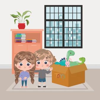 Ilustração dos desenhos animados de menina e menino