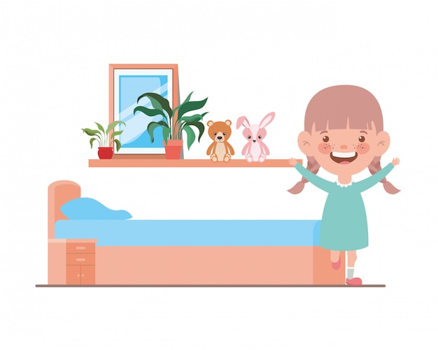 Ilustração dos desenhos animados de menina isolada