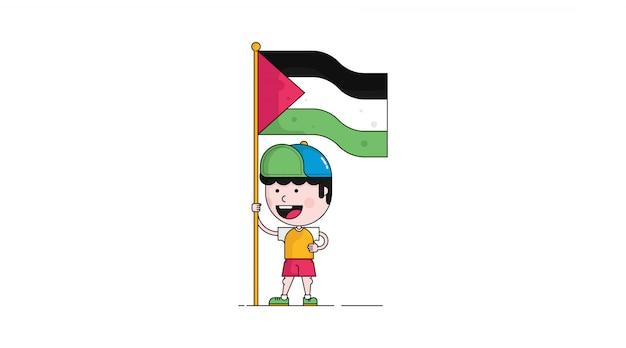 Ilustração dos desenhos animados de menino palestina