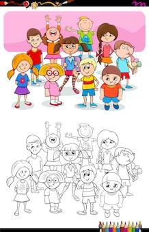 Ilustração dos desenhos animados de meninos e meninas coloring book