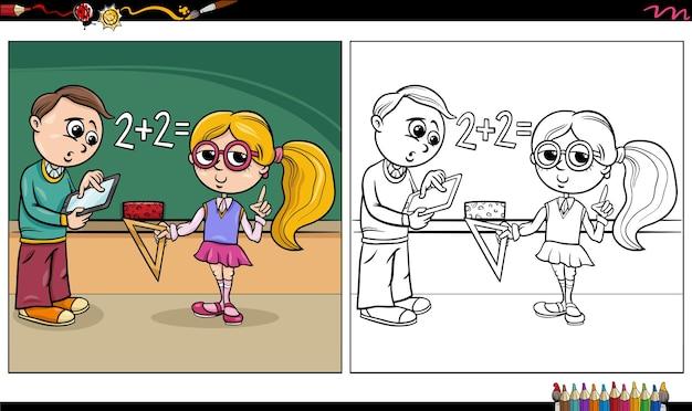 Ilustração dos desenhos animados de meninos e meninas na página do livro para colorir do quadro-negro