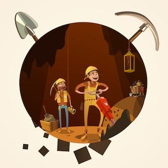 Ilustração dos desenhos animados de mineração