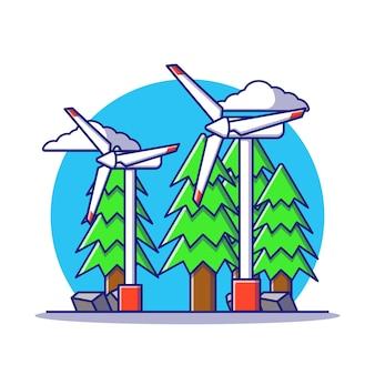 Ilustração dos desenhos animados de moinhos de vento de energia alternativa isolada