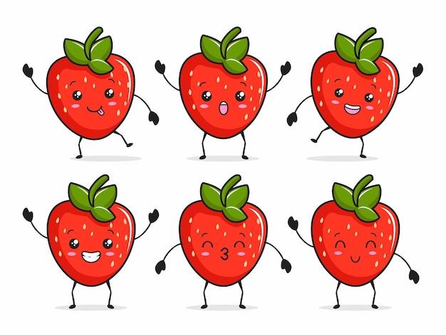Ilustração dos desenhos animados de morango kawaii