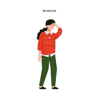 Ilustração dos desenhos animados de mulher com dor de cabeça ou enxaqueca em branco