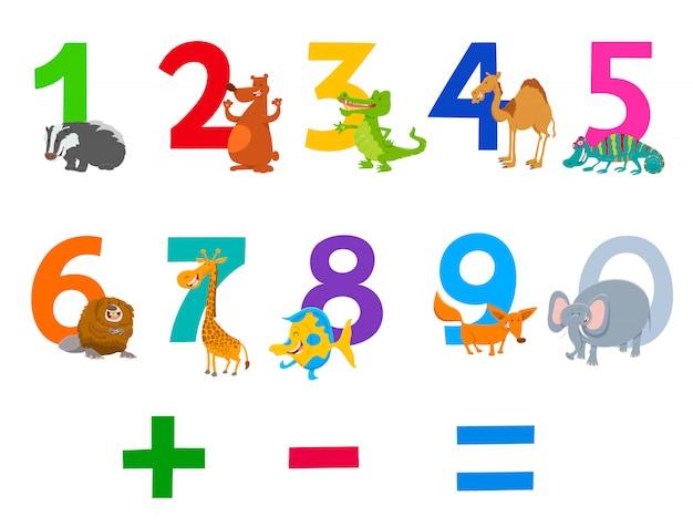 Ilustração dos desenhos animados de números com animais