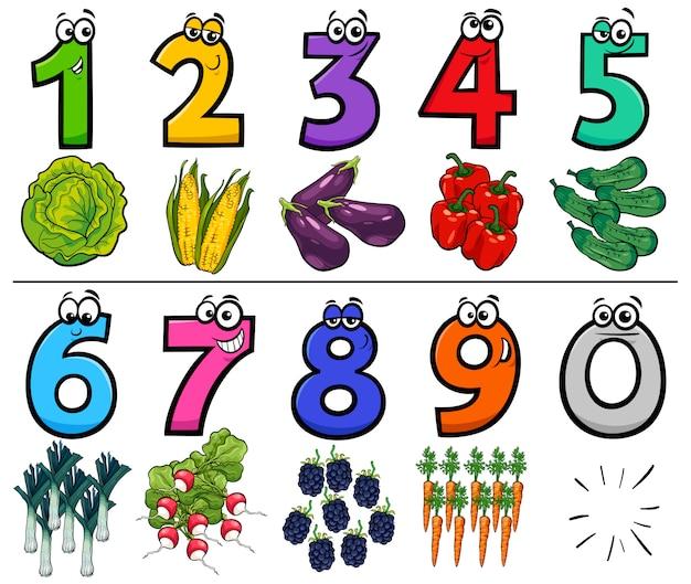 Ilustração dos desenhos animados de números com legumes