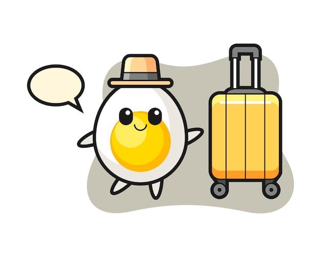Ilustração dos desenhos animados de ovo cozido com bagagem de férias