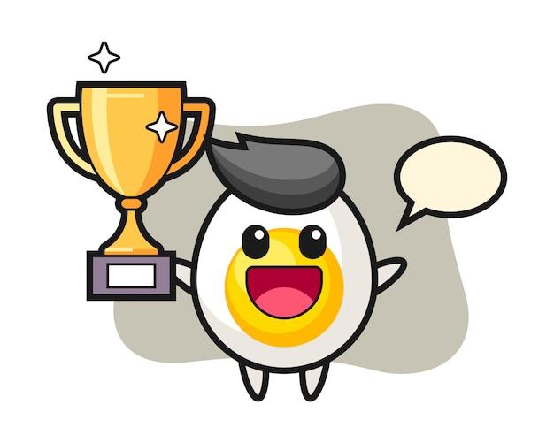 Ilustração dos desenhos animados de ovo cozido é feliz segurando o troféu de ouro