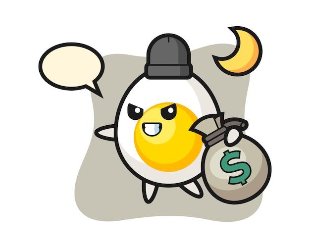 Ilustração dos desenhos animados de ovo cozido é roubado o dinheiro
