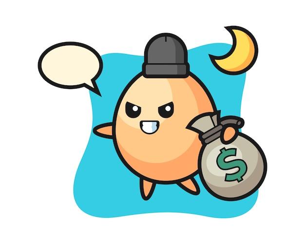 Ilustração dos desenhos animados de ovo é roubado o dinheiro, design de estilo bonito para camiseta, adesivo, elemento de logotipo