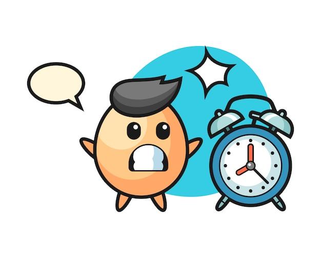 Ilustração dos desenhos animados de ovo é surpreendida com um despertador gigante, estilo bonito para camiseta, adesivo, elemento de logotipo