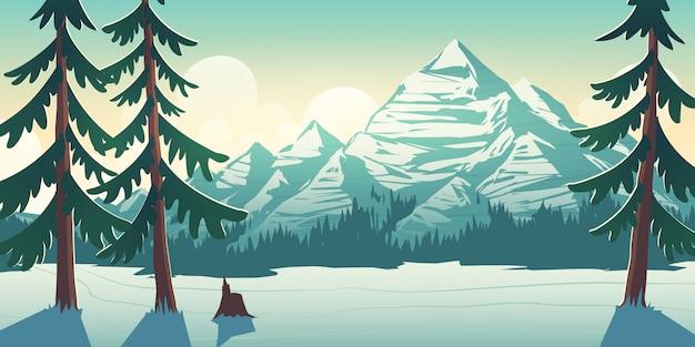 Ilustração dos desenhos animados de paisagem de inverno do parque nacional