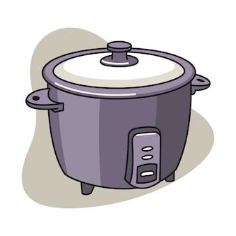 Ilustração dos desenhos animados de panela de arroz
