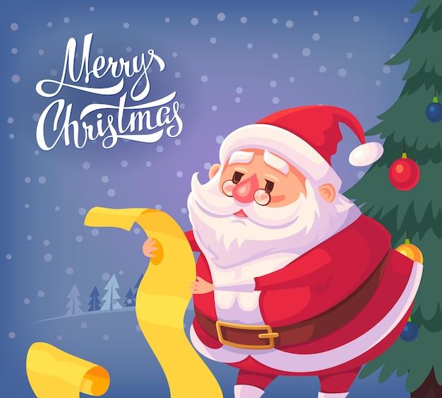 Ilustração dos desenhos animados de papai noel feliz natal.