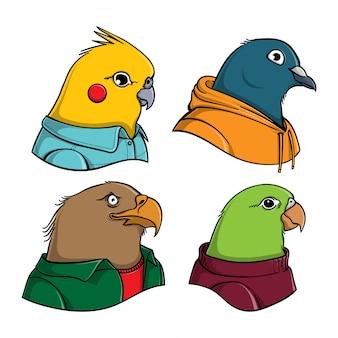 Ilustração dos desenhos animados de pássaros