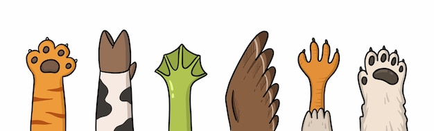 Ilustração dos desenhos animados de patas de diferentes animais