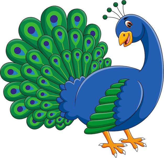 Ilustração dos desenhos animados de pavão bonito