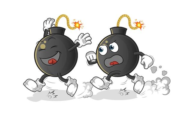 Ilustração dos desenhos animados de perseguição de bomba