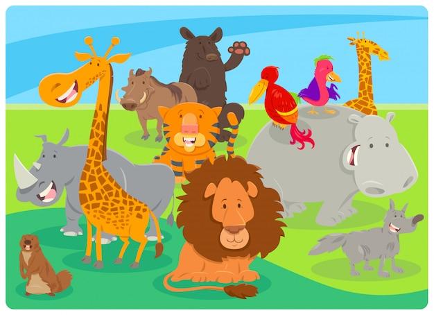 Ilustração dos desenhos animados de personagens animais felizes