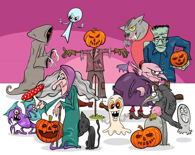 Ilustração dos desenhos animados de personagens assustadoras de feriado de halloween