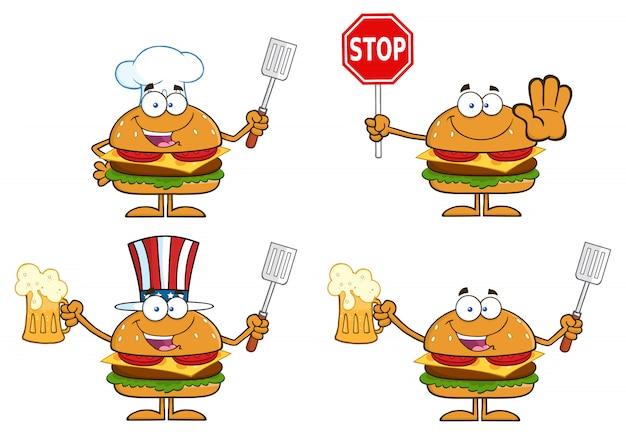 Ilustração dos desenhos animados de personagens de hambúrguer
