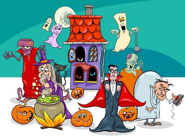 Ilustração dos desenhos animados de personagens engraçados de feriado de halloween