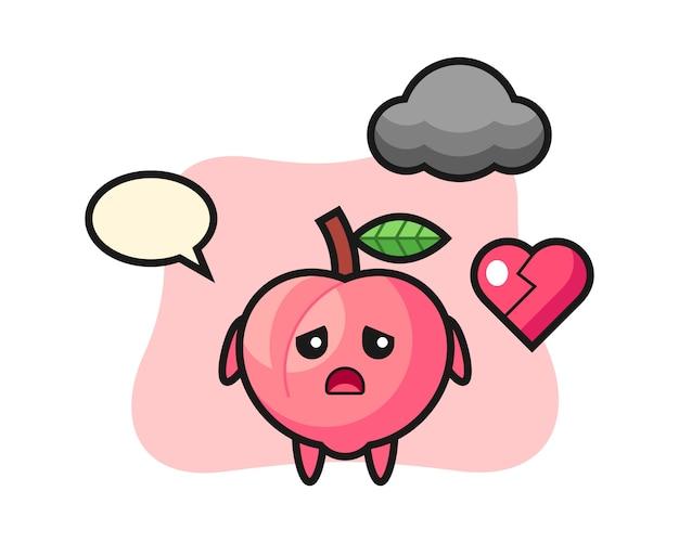 Ilustração dos desenhos animados de pêssego é coração partido, design de estilo bonito para camiseta