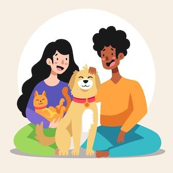 Ilustração dos desenhos animados de pessoas com animais de estimação