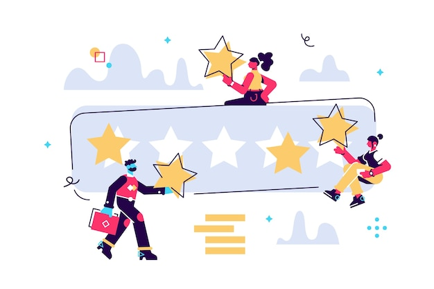 Ilustração dos desenhos animados de pessoas minúsculas com grandes estrelas nas mãos. a melhor estimativa, a pontuação de cinco pontos. personagens deixam feedback e comentários, o trabalho bem-sucedido é a pontuação mais alta.