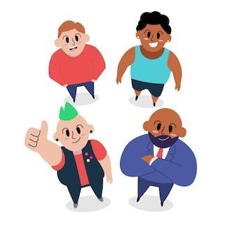 Ilustração dos desenhos animados de pessoas olhando para cima