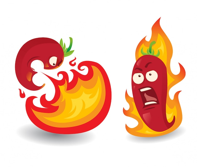 Ilustração dos desenhos animados de pimenta chili quente 2