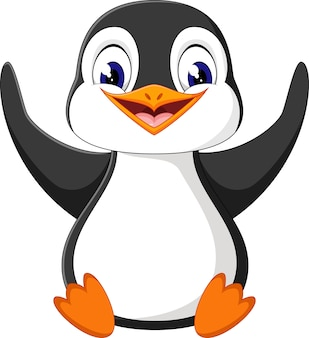 Ilustração dos desenhos animados de pinguim bonitinho