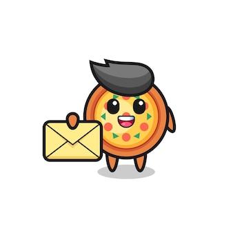 Ilustração dos desenhos animados de pizza segurando uma letra amarela, design de estilo fofo para camiseta, adesivo, elemento de logotipo