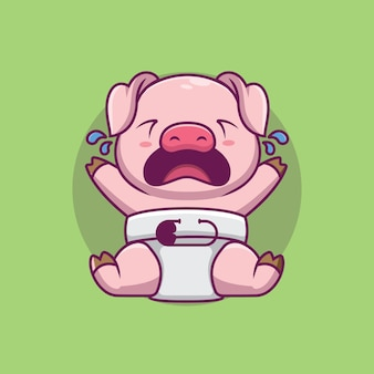 Ilustração dos desenhos animados de porco chorando