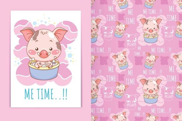 Ilustração dos desenhos animados de porco fofo na banheira e conjunto de padrões sem emenda