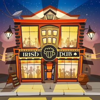 Ilustração dos desenhos animados de pub irlandês