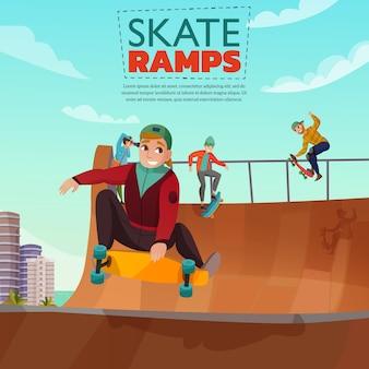 Ilustração dos desenhos animados de rampa de skate