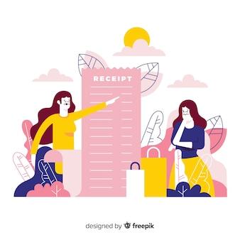 Ilustração dos desenhos animados de recibo de lista de compras