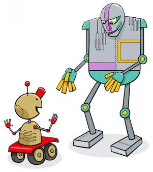 Ilustração dos desenhos animados de robôs falantes