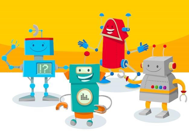 Ilustração dos desenhos animados de robôs ou personagens de droids