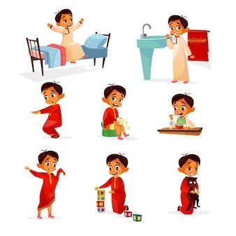 Ilustração dos desenhos animados de rotina diária de menino muçulmano