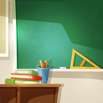 Ilustração dos desenhos animados de sala de aula