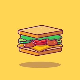 Ilustração dos desenhos animados de sanduíche.
