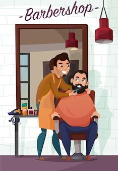 Ilustração dos desenhos animados de serviços de barbeiro