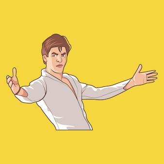 Ilustração dos desenhos animados de shahrukh khan.