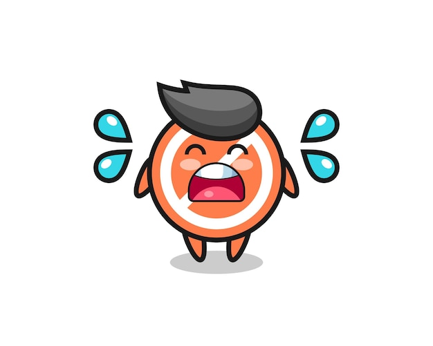 Ilustração dos desenhos animados de sinal de parada com gesto de choro, design de estilo fofo para camiseta, adesivo, elemento de logotipo